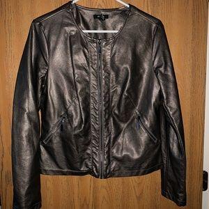 Alfani metallic faux leather coat w silky lining